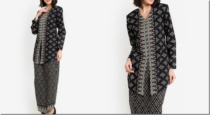 black-songket-print-cotton-modern-kebaya