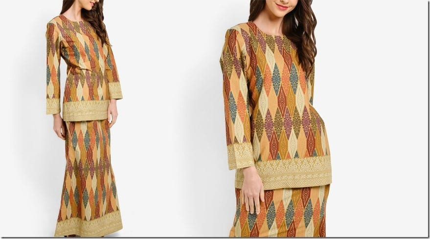 colorful-brown-songket-print-mod-kurung