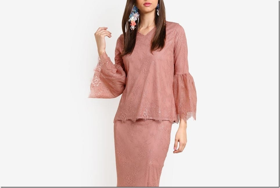 Wear This Demure French Lace Kurung Style For Raya 2017