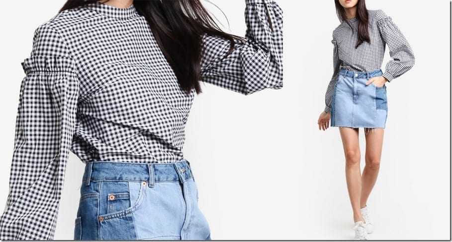 gingham-mutton-sleeve-blouse