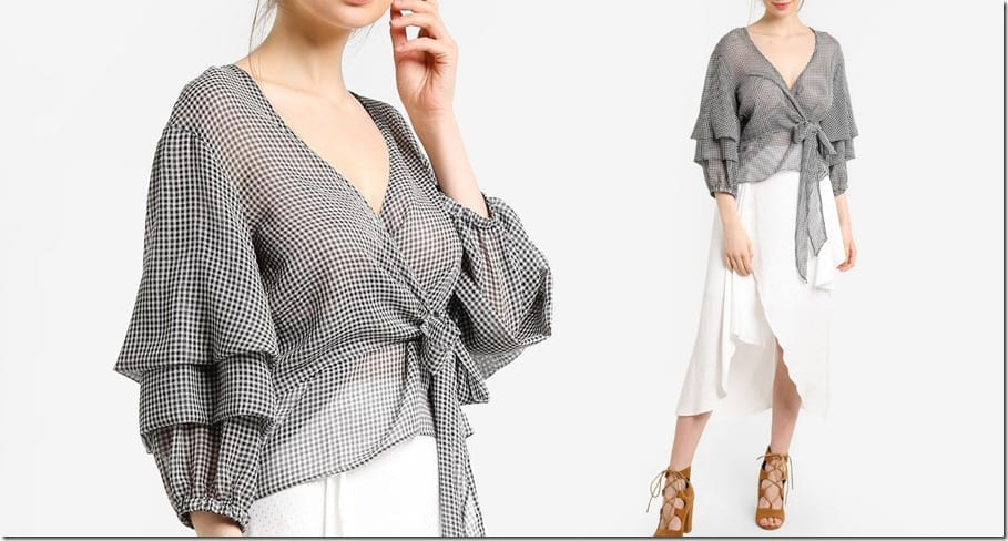gingham-puff-sleeve-wrap-blouse