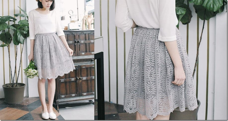 grey-double-layered-lace-midi-skirt