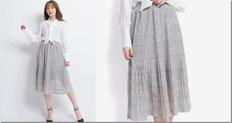 grey-gathered-waist-lace-midi-skirt
