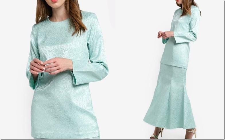 minimal-turquoise-jacquard-kurung-moden