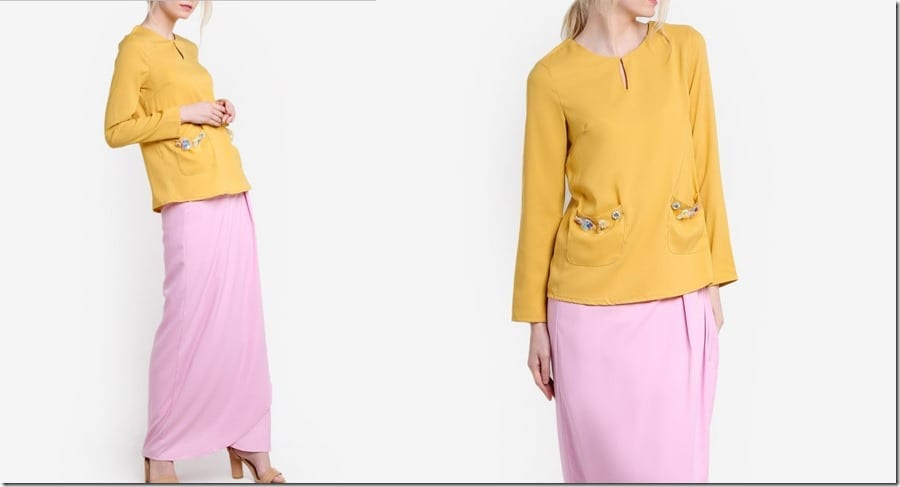 mustard-pink-beaded-pocket-kurung