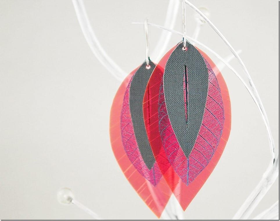 neon-pink-blue-grey-real-leaf-earrings