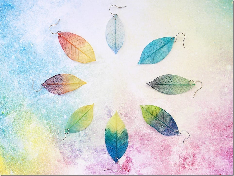 ombre-real-leaf-earrings