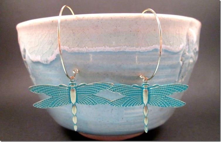 teal-gold-hoop-dragonfly-earrings