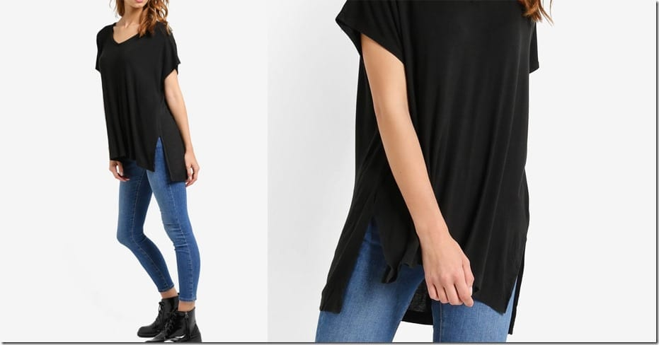 black-split-side-tee