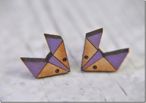 geometric-fox-wooden-stud-earrings