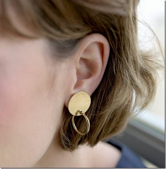 gold-disc-round-hoop-stud-earrings