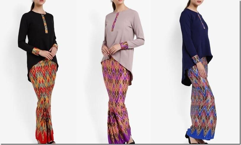 High Low Hem Sarawak Batik Print Mod Kurung Style