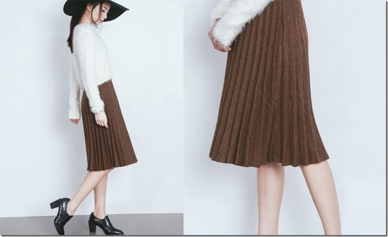khaki-brown-pleated-midi-skirt