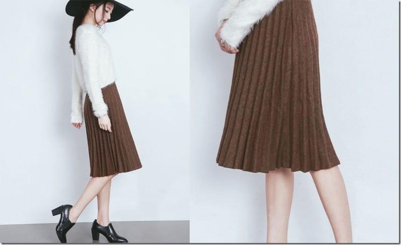 khaki-brown-pleated-midi-skirt