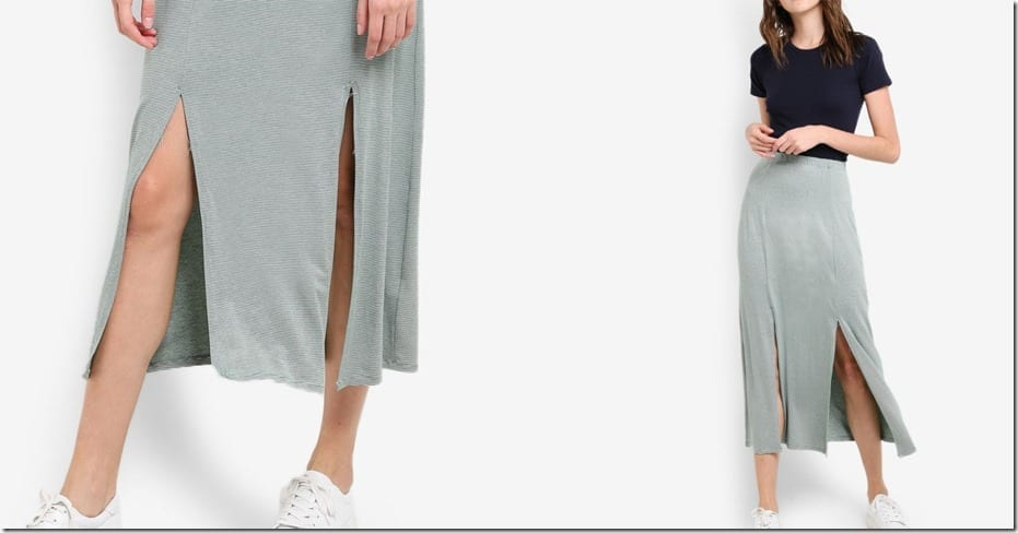 melange-midi-split-skirt