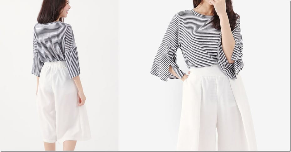 stripe-split-sleeve-top