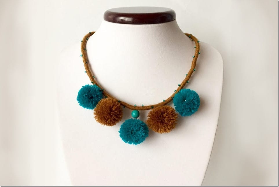 turquoise-bronze-boho-pom-pom-necklace