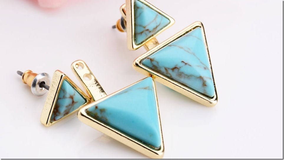 turquoise-gold-triangle-ear-jacket-earrings