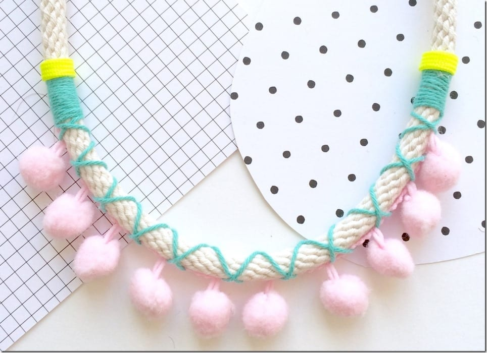 turquoise-pink-pom-pom-necklace