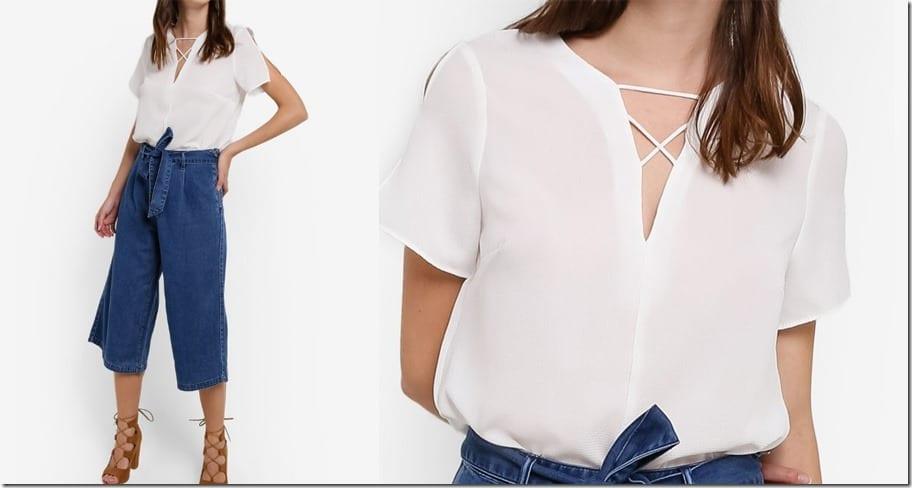 white-split-sleeve-blouse