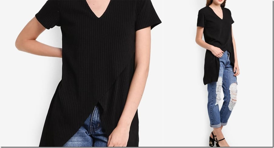 black-overlap-irregular-hem-top