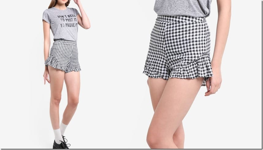 gingham-high-waist-ruffle-shorts