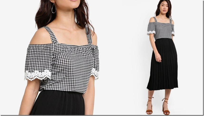 gingham-lace-trim-cold-shoulder-top