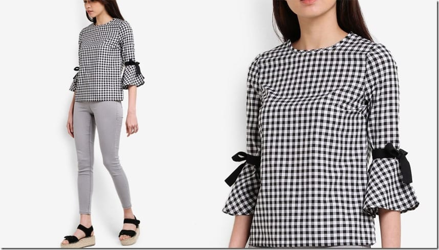 gingham-tie-flute-sleeve-blouse