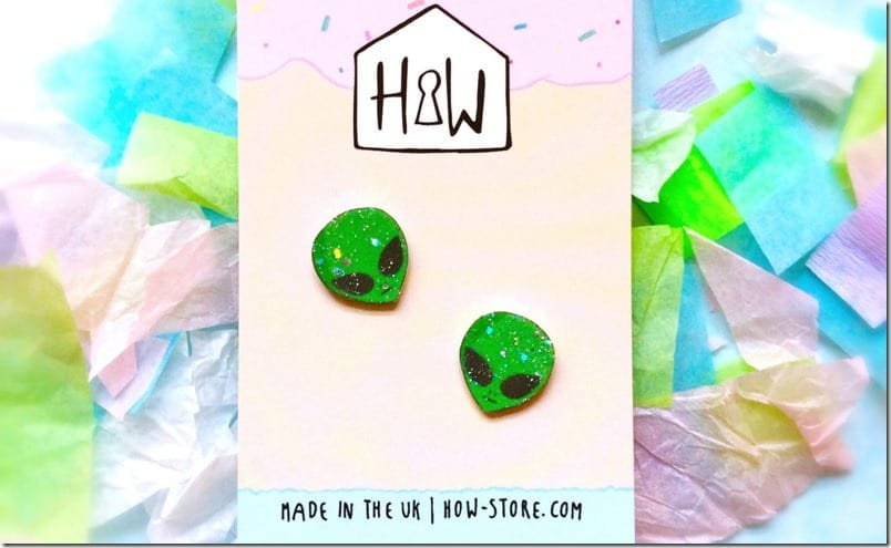 glittery-green-alien-stud-earrings