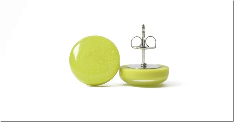 green-stud-earrings