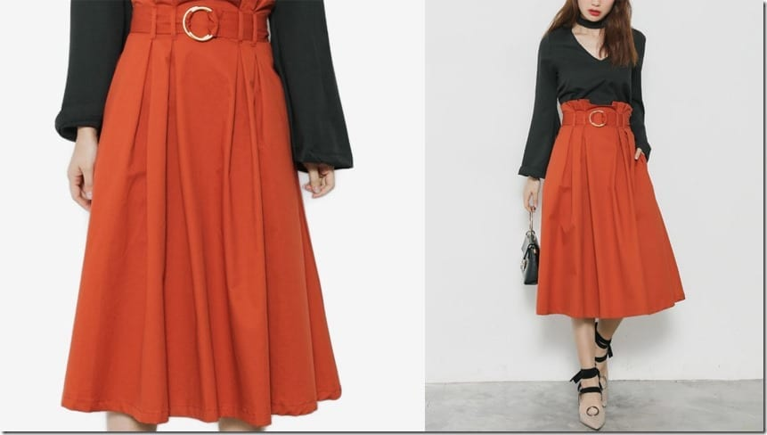 paper-bag-buckle-midi-flare-skirt