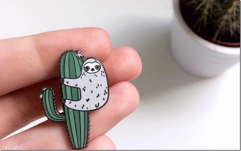 sloth-cactus-enamel-pin