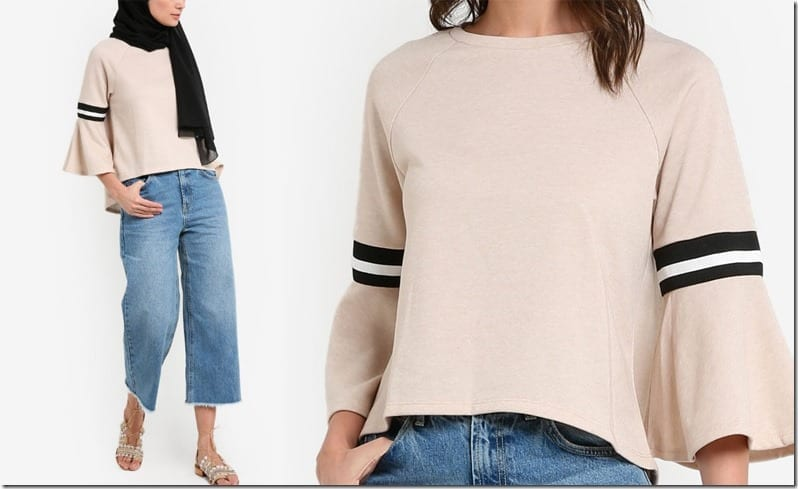 sporty-beige-flare-sleeve-blouse