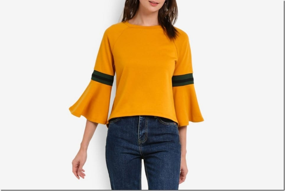 Flare Sleeve Blouse Style With A Sporty Appeal