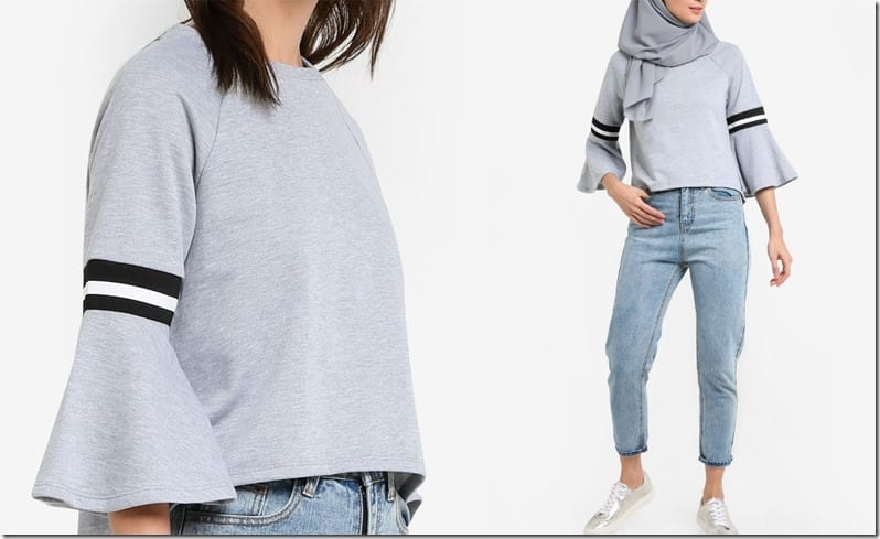 sporty-grey-flare-sleeve-blouse