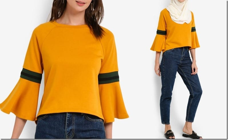 sporty-mustard-flare-sleeve-blouse