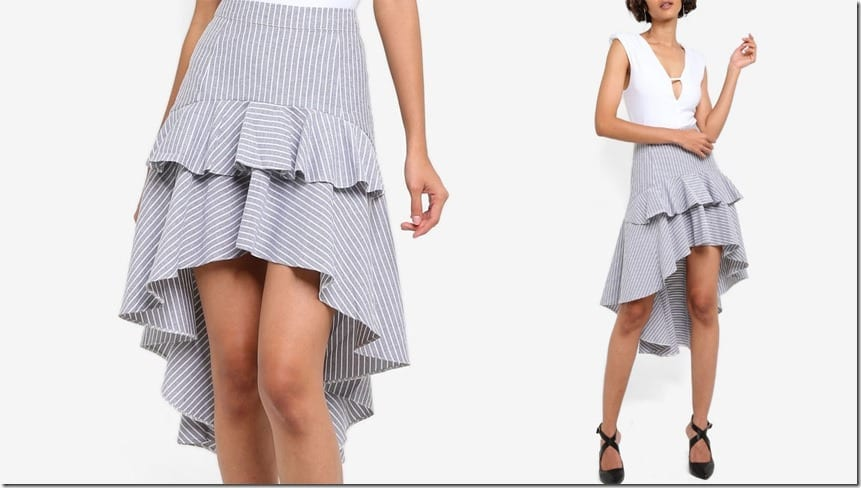 stripe-high-low-hem-ruffle-skirt