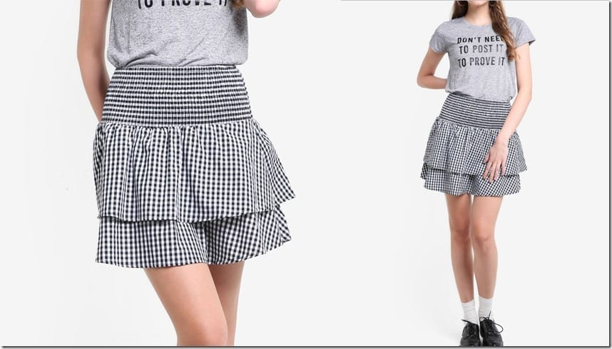tiered-ruffle-gingham-mini-skirt