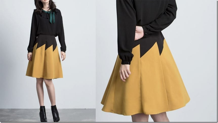 yellow-black-color-block-skirt