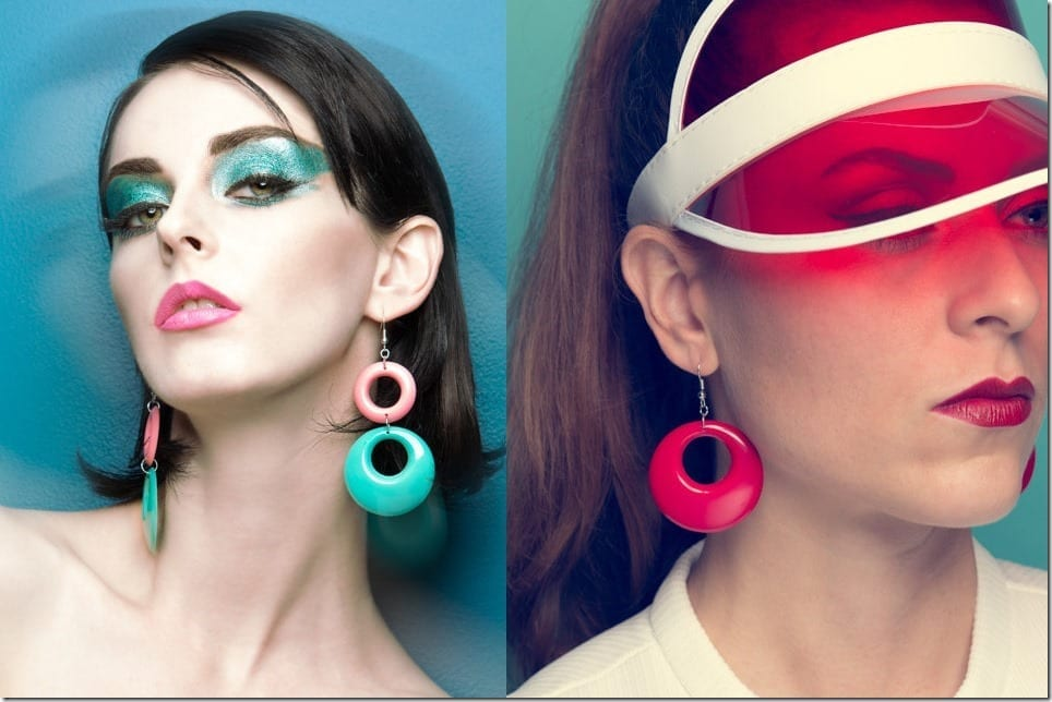 Party Ear Statement In 60s Style Colored Hoop Earrings