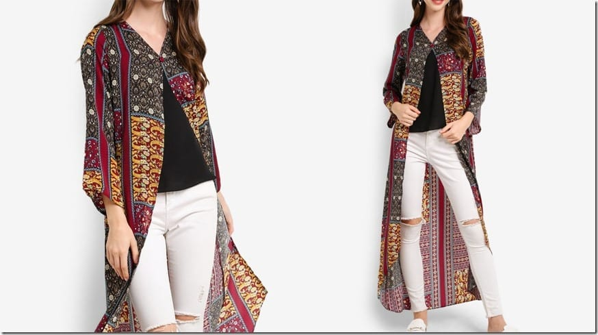 boho-print-button-long-line-cardigan