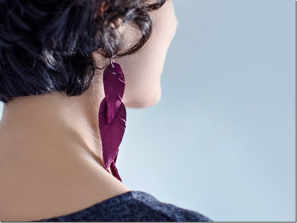 burgundy-tribal-leather-feather-earrings