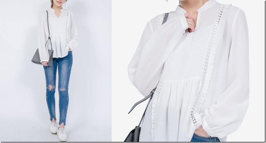 mandarin-collar-v-neck-blouse