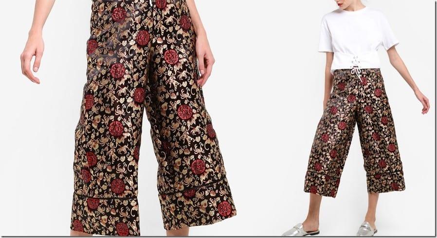 metallic-floral-print-culottes