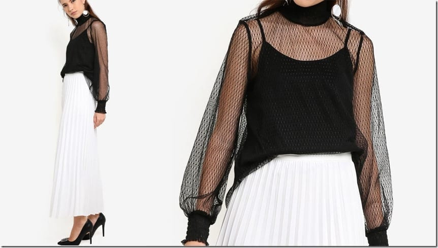 smocked-mock-neck-mesh-top