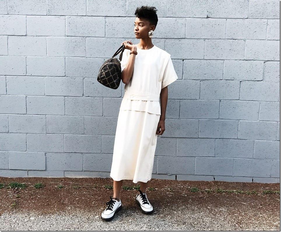 Fashionista NOW: 80s Vintage Minimalist Midi Dress Style Ideas