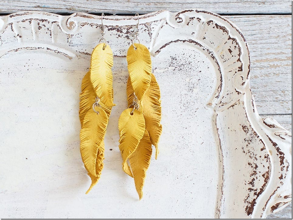 yellow-leather-feather-earrings