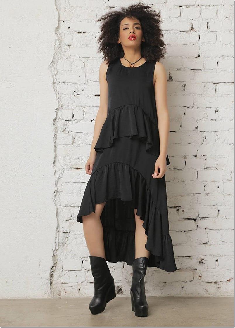 black-asymmetric-long-ruffle-dress