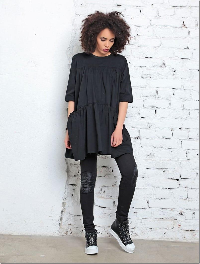 black-flared-pocket-dress