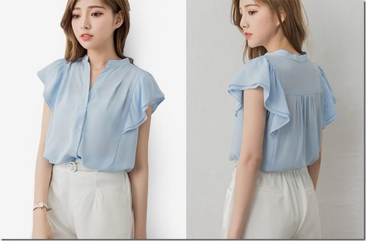 blue-high-collar-flutter-sleeve-blouse